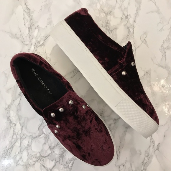 Rebecca Minkoff Shoes - Rebecca Minkoff Deep Red Velvet Studded Loafers